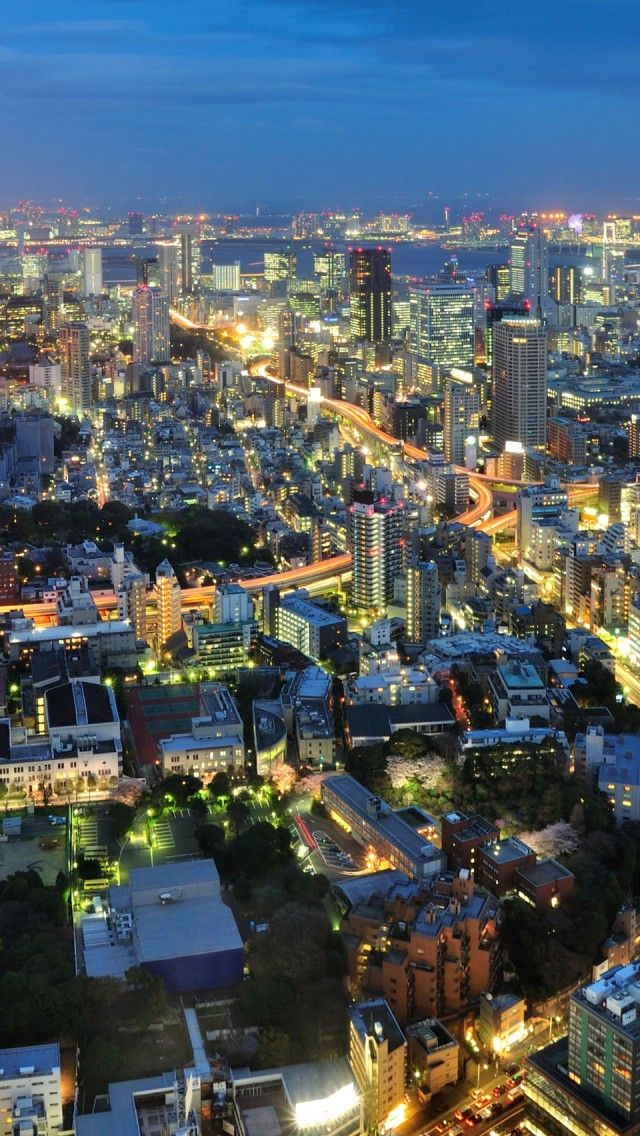 Japan Tokyo Night iPhone 5 wallpapers, backgrounds, 640 x