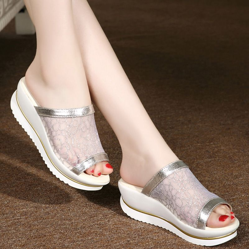 a37a99e87b9a DreamShining Summer Mesh Slope With Thick Crust Muffin Fish Head Word Drag Sandals  Waterproof Sandals And