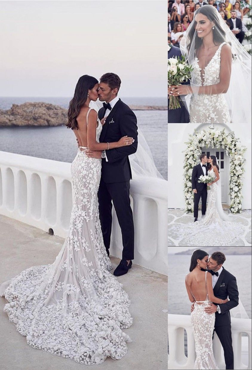 Photo of V-Neck Backless Sleeveless Mermaid Wedding Dress with Appliques