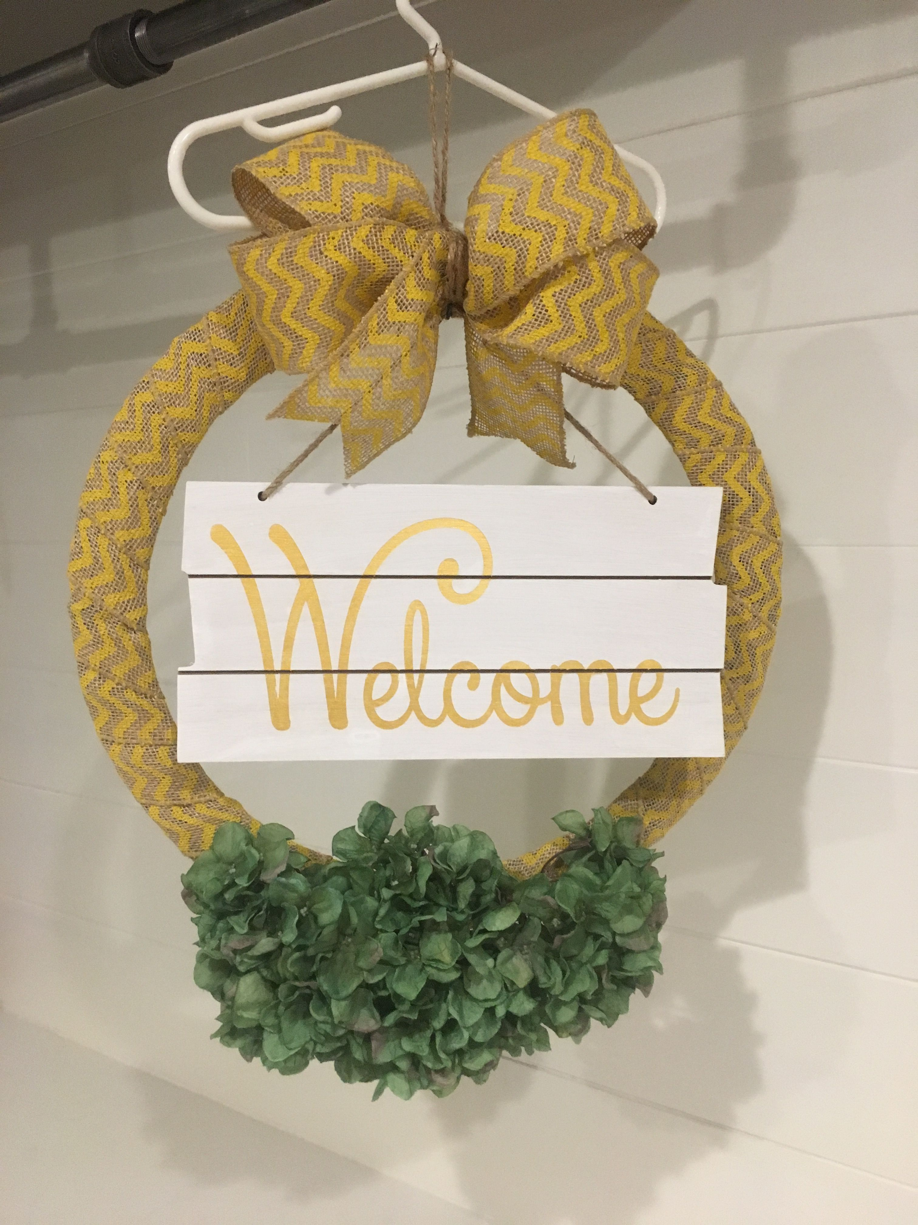 welcome front porch reversible wreath sign bought wire wreath form greenery wood board - Wire Wreath Frame Hobby Lobby