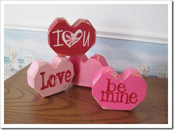 Valentines Day Love Heart handmade Wood and Vintage Fabric Pink and Red