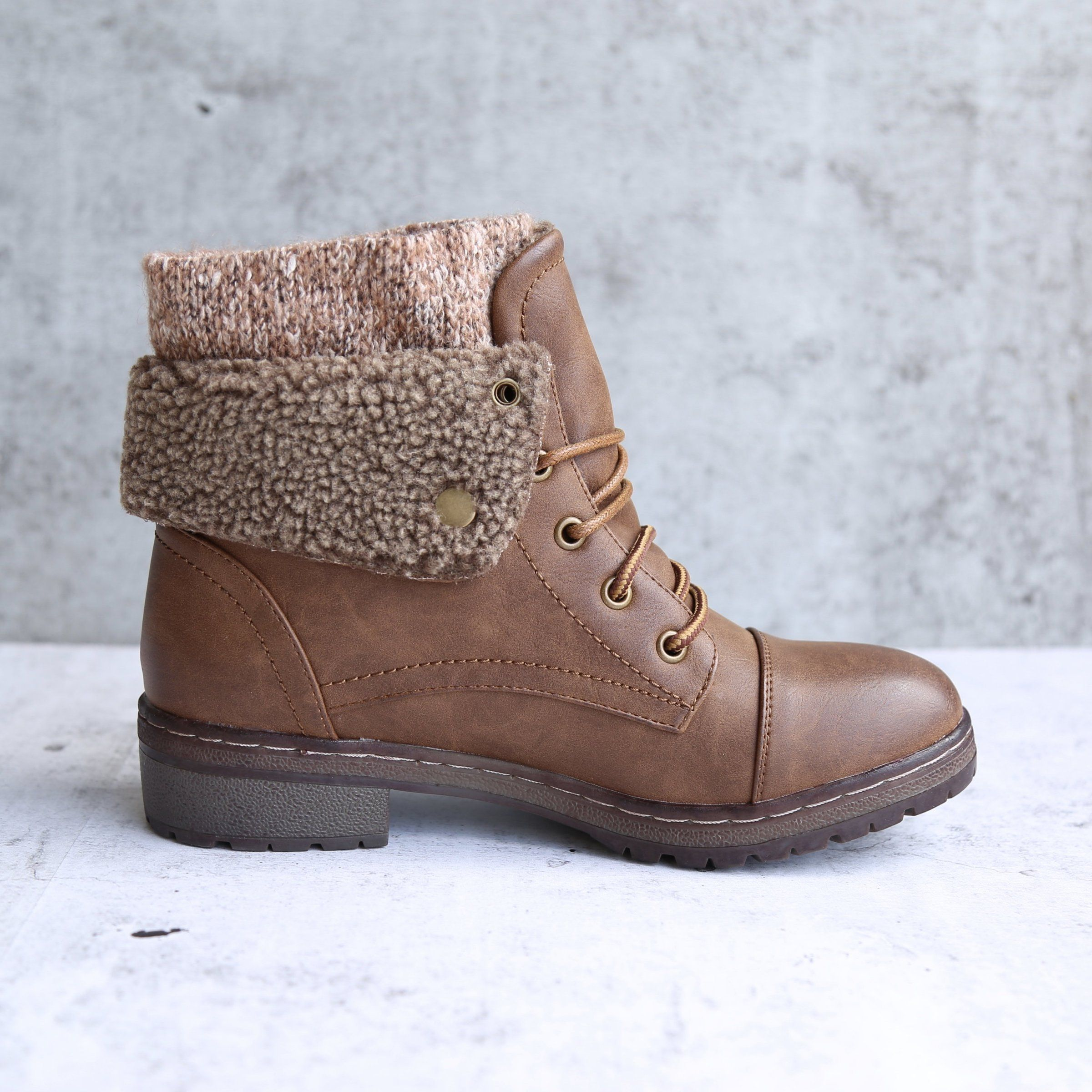 cf634d6198 coolway bring betta faux leather knit sweater cuff ankle boots shophearts