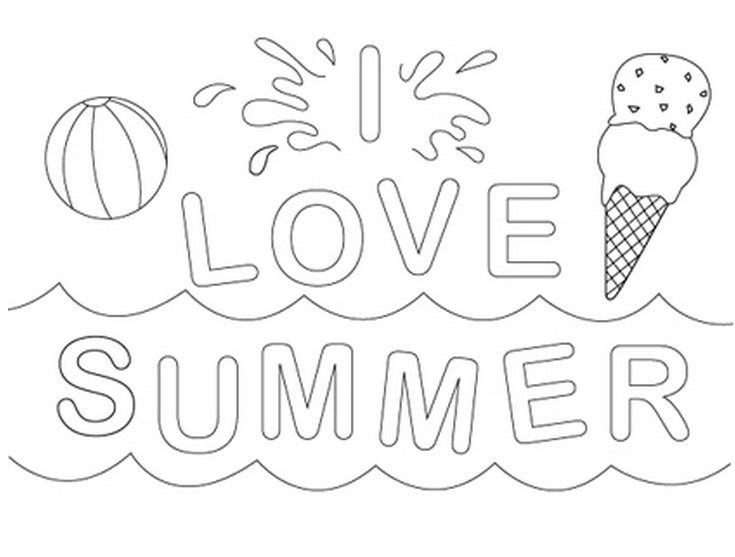 i love summer coloring page - Summer Coloring Page