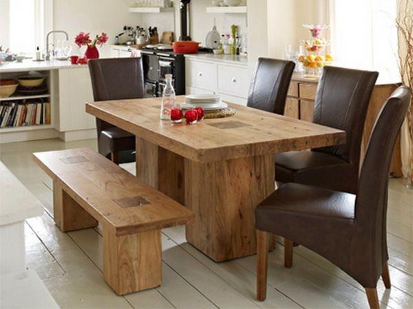 Elegant Esstisch Aus Holz Und Schwarze Stühle   25 Interessante Beispiele Für  Moderne Massivholztische