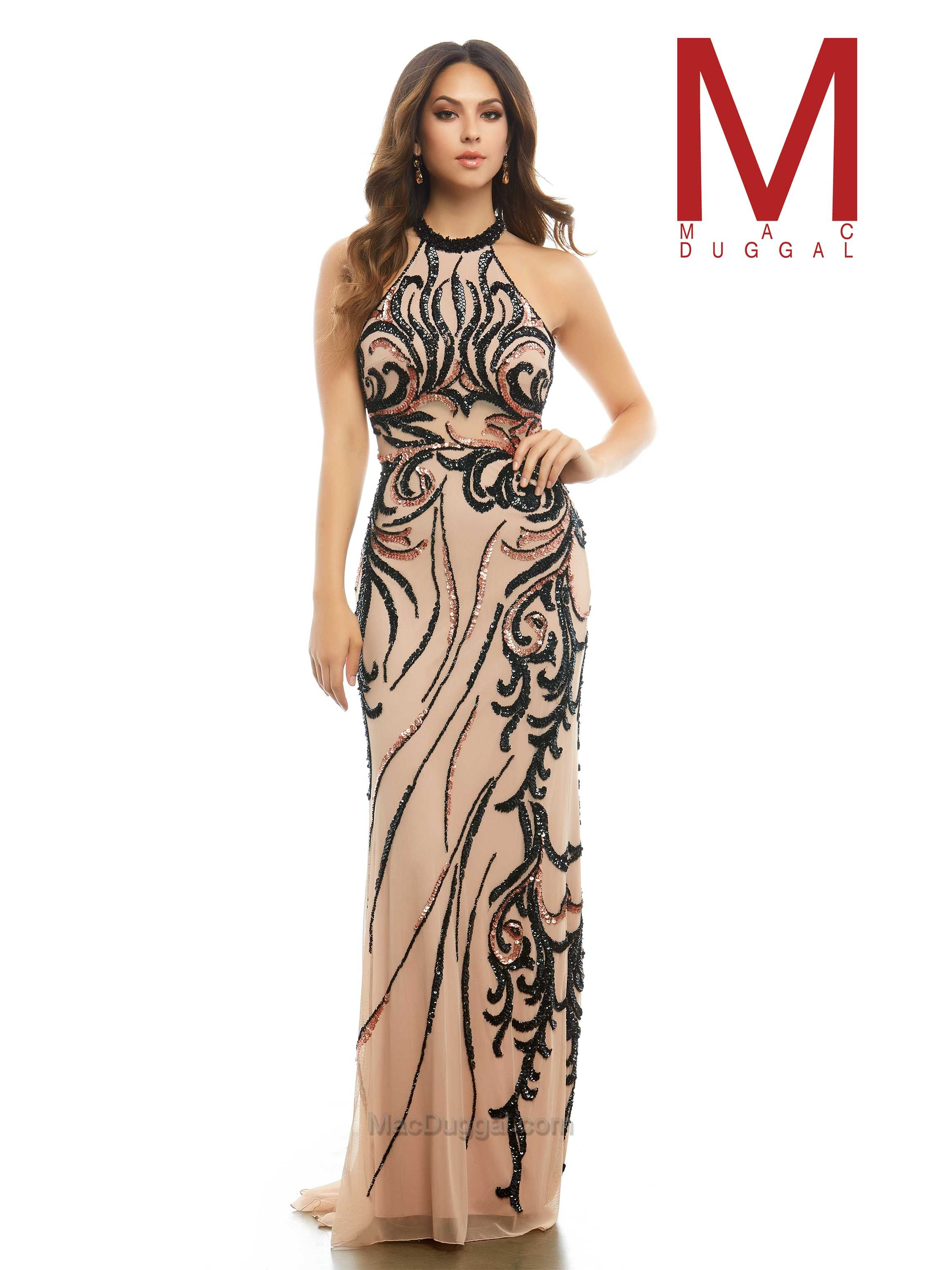 Style 1922 High neck, halter neck, black and nude, column style ...