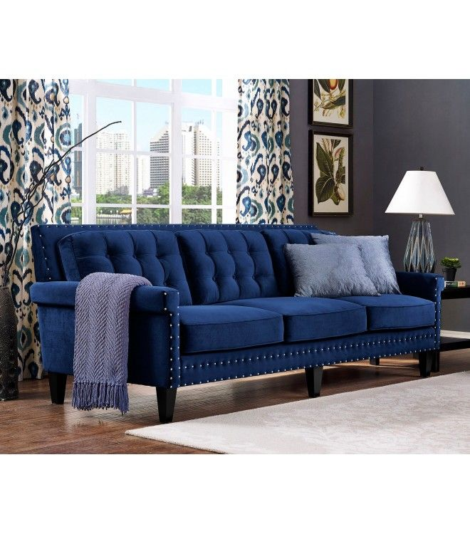 Blue Velvet Tufted Sofa Nail Head Accents Blue Sofa Living Blue