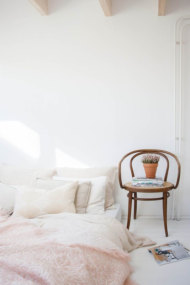 15 interiors mastering Pantone 2016 color of the year - French By Design. Minimal bedroom dreams.