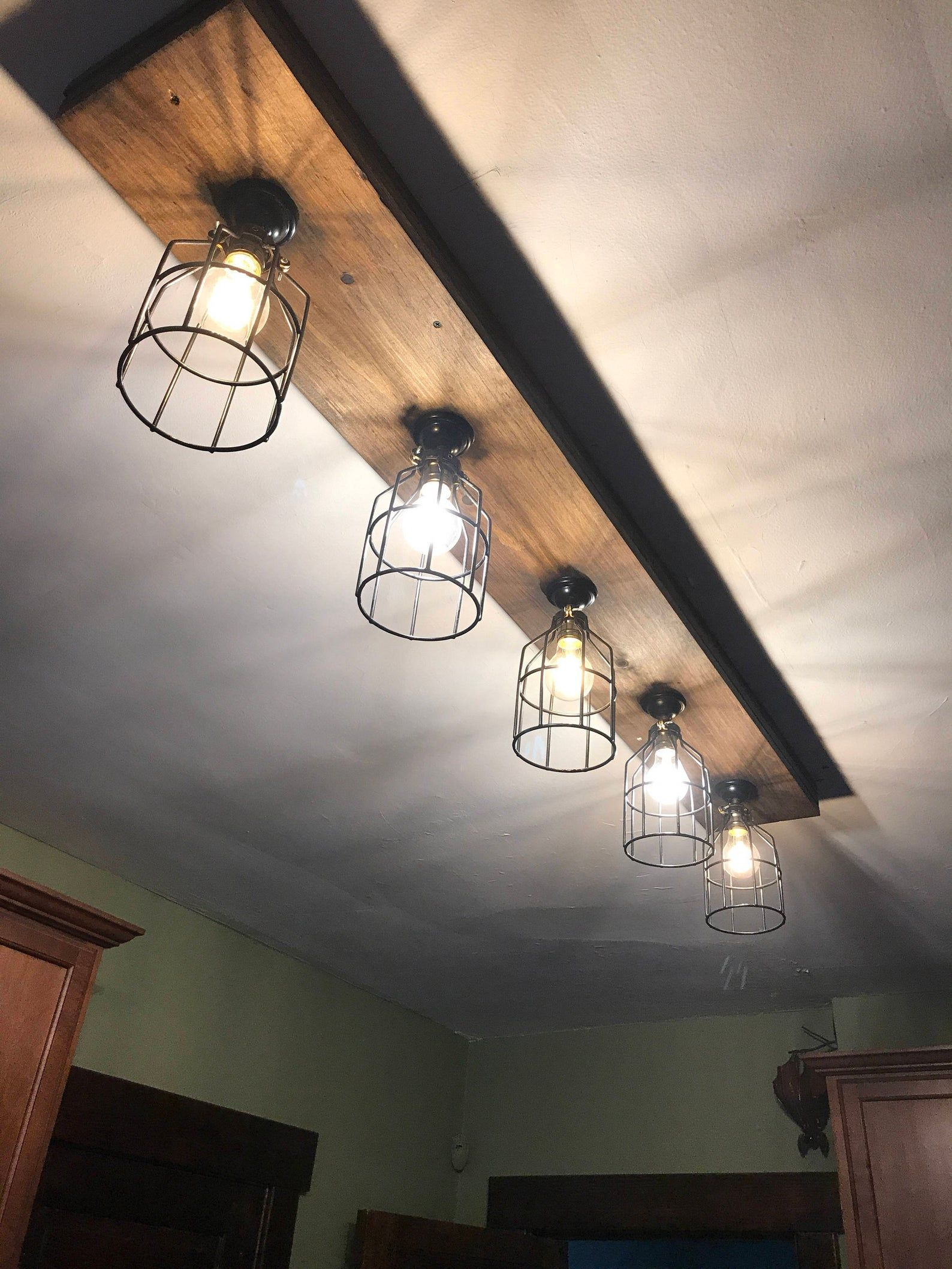 Rustic Farmhouse Beam Light 3 4 5 Or 6 Light Fixtures Up To 6 Feet Long Rustic Track Lighting Wood Beam Light Light Bulbs Included Rustic Light Fixtures Rustic Track Lighting Rustic Kitchen Lighting
