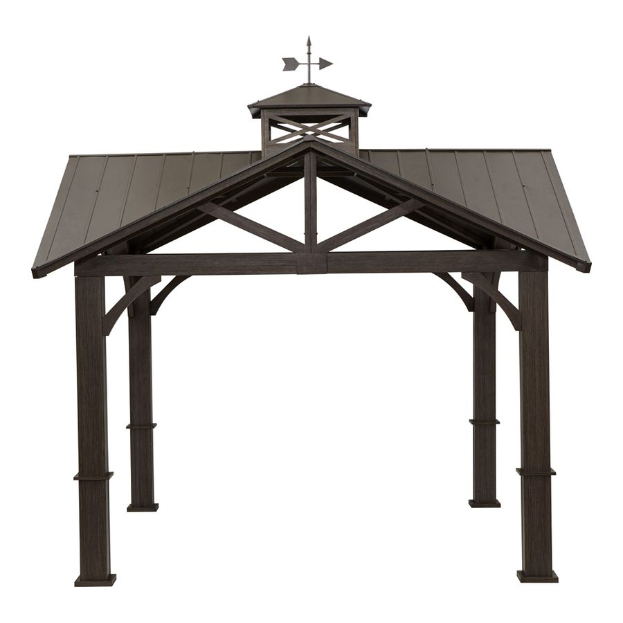 Allen Roth Wood Looking Hand Paint Metal Square Semi Permanent Gazebo Exterior 12 Ft X 12 Ft Foundation 10 56 Ft X 10 56 Ft Lowes Com Permanent Gazebo Gazebo Metallic Paint
