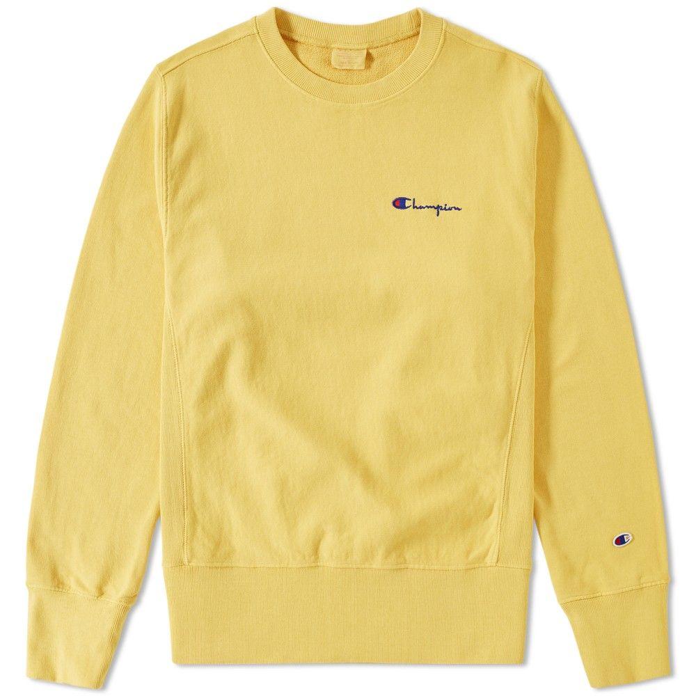 Champion Reverse Weave Small Script Logo Crewneck Yellow Yellow Champion Sweatshirt Champion Crewneck Sweater Weather [ 1000 x 1000 Pixel ]