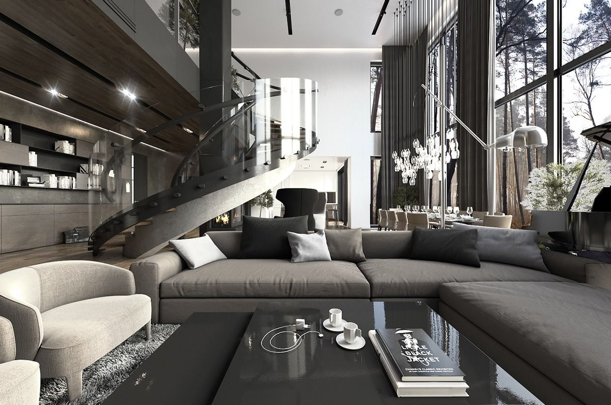 Three Luxurious Apartments With Dark Modern Interiors Living Room Sets Furniture Living Room Furniture Arrangement Luxury Living Room
