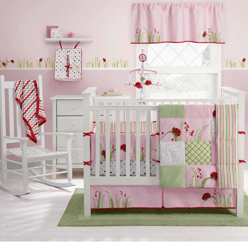 Baby bed accessories - Cherry Blossom Nursery Bedding Ladybug Crib Bedding King Queen Bedding
