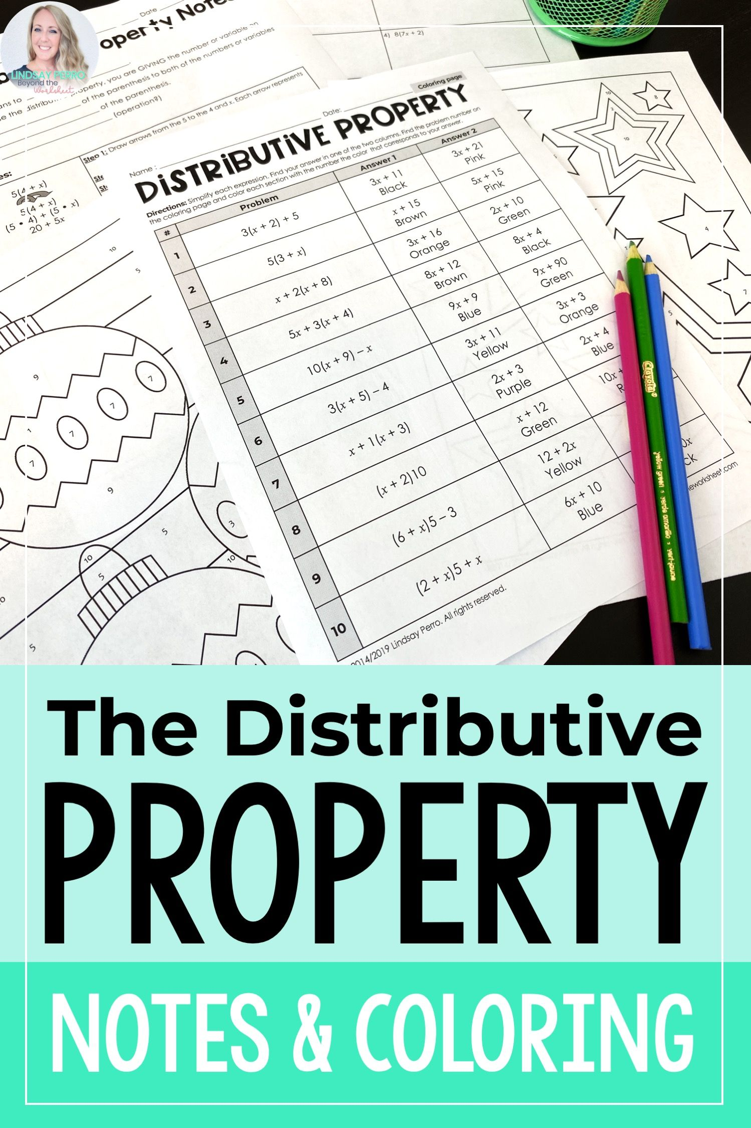 Distributive Property Notes Coloring Page Distributive Property Like Terms Middle School Literacy [ 2249 x 1499 Pixel ]