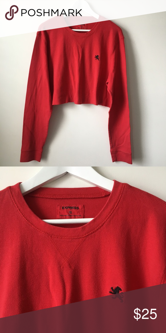 897c21330776c vintage Express Thermal Cropped Oversized Sweater - in perfect condition!  super cute red thermal long sleeve crop top with a perfectly cut raw hem!