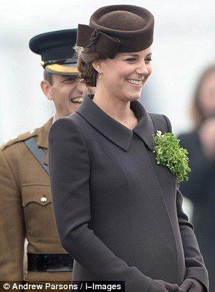 Duchess of Cambridge presents shamrocks to the Irish Guards #dailymail