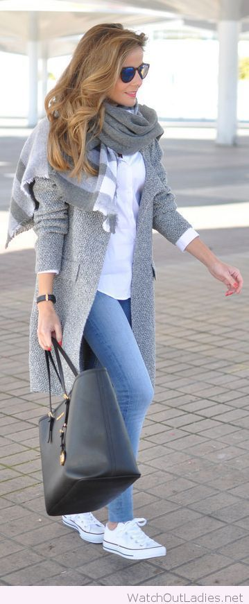 Blue jeans, and a long grey coat Clothing, Shoes & Jewelry : Women : Clothing : Jeans http://amzn.to/2jOGBU9