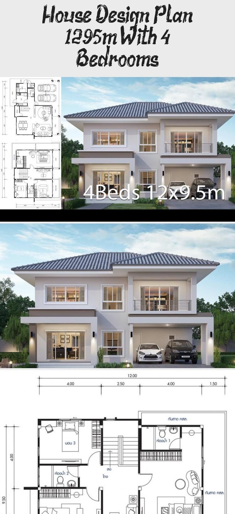 House Design Plan 12x9 5m With 4 Bedrooms Home Design With Plansearch Houseplansarchitecture Houseplansonesto In 2020 Home Design Plans Craftsman House Plans House