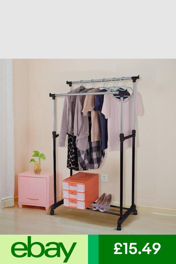 Metal Clothes Rail Rack Hanging Garment Display Stand Shoe /& Hook Storage Shelf
