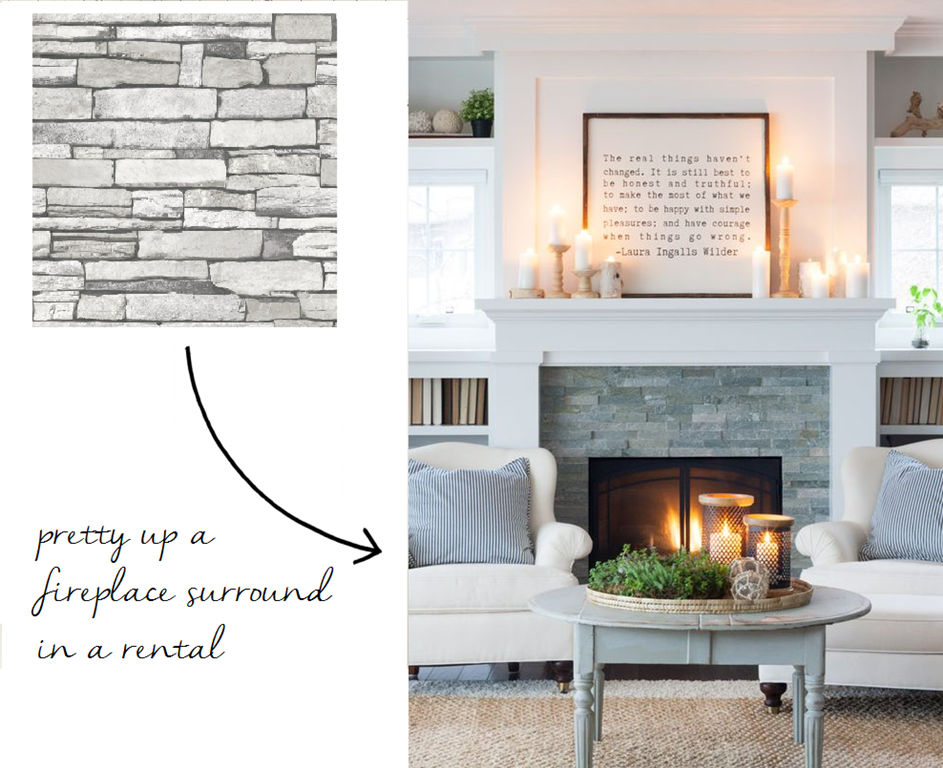 12 Peel Stick Wallpapers That Don T Look Like Wallpaper At All Emily A Clark Fireplace Surrounds Wallpaper Fireplace Peel And Stick Wallpaper