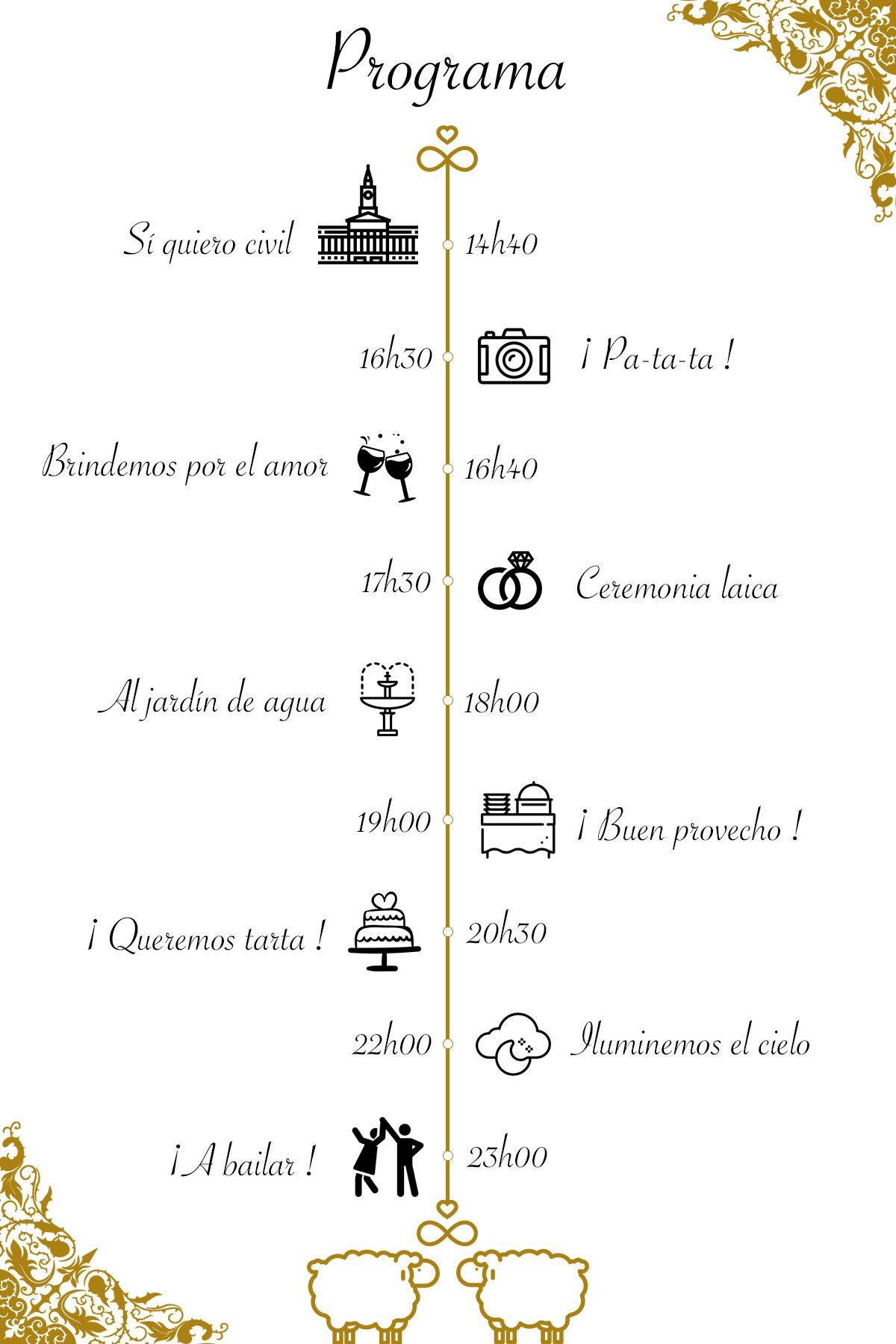 Mi programa de bodas en español Programa de boda