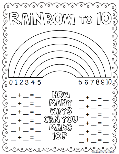 Rainbow number combinations to 10 freebie from cupcake Color combinations numbers