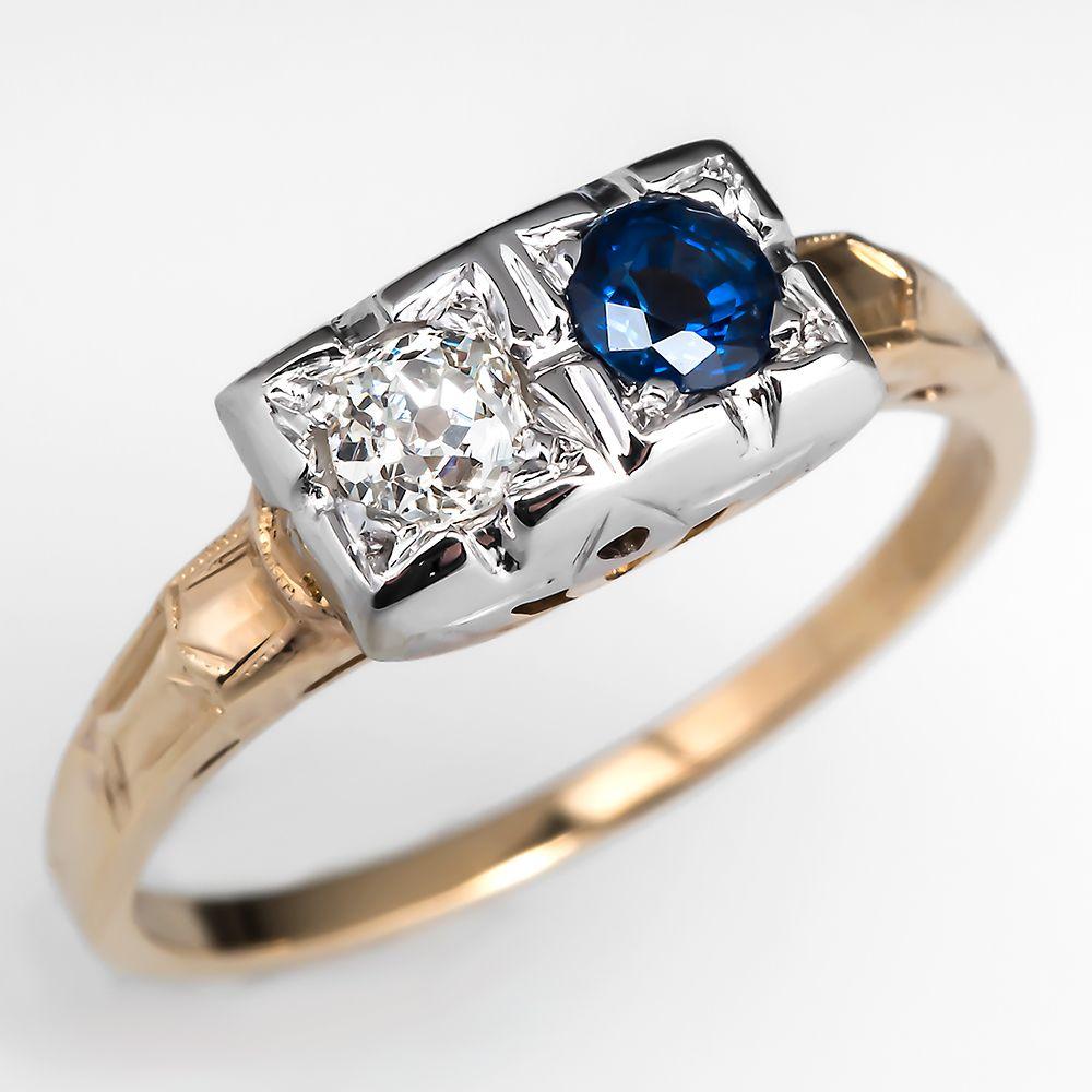 Antique Twin Old Mine Diamond & Sapphire Ring 14K Gold 1920's