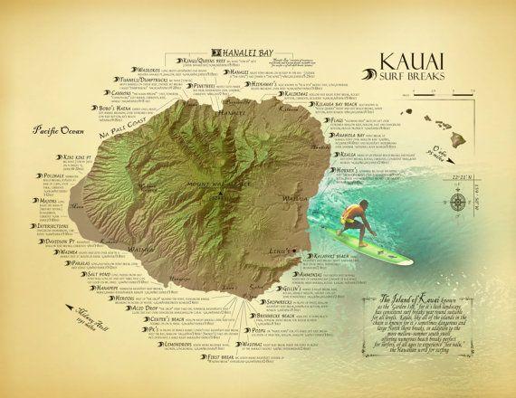 Kauai Surf Break Map 11 X 14 Vintage Inspired Hawaiian Art Print