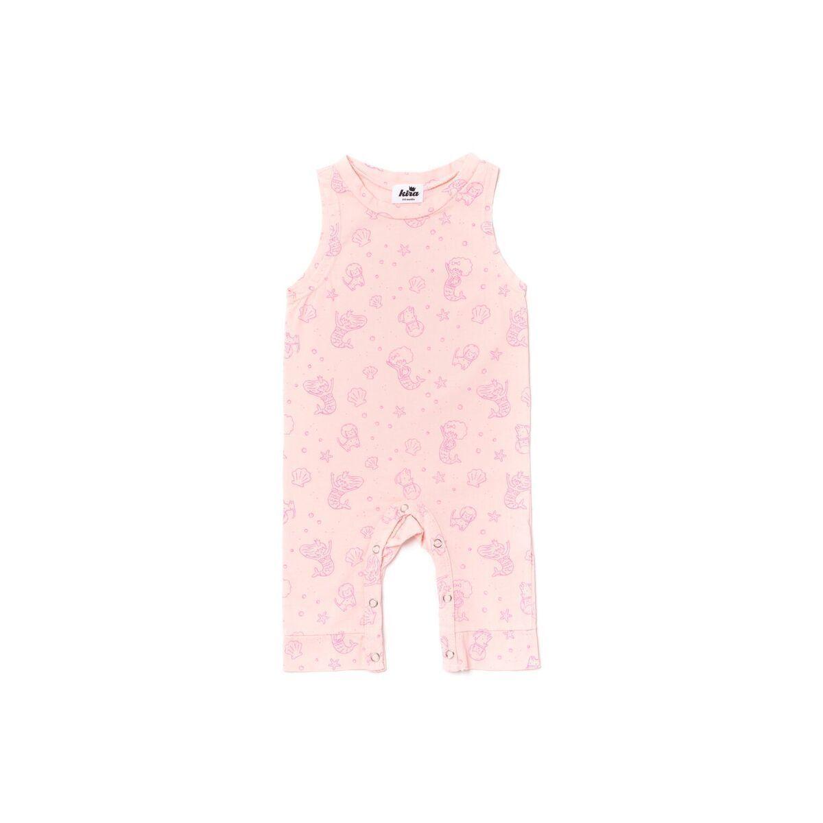 dbf2e0212df0 Kira Kids Mermaid Sleeveless Jumpsuit - Powder Pink 100% organic cotton  Light pink sleeveless jumpsuit with hot pink mermaid print Children s
