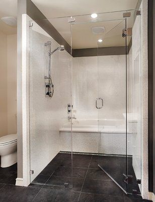 combined shower tub  Custom and combo bathroom