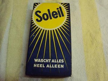 Mooie oude verpakking wasmiddel soleil jaren 50.