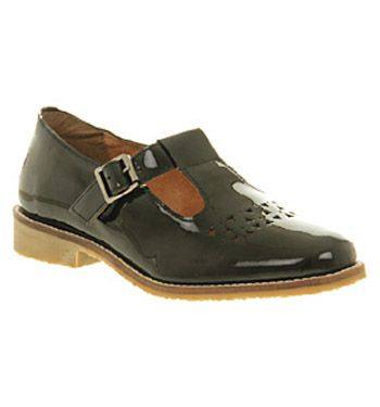 Office Paintbox Tbar Black Patent Leather Flats