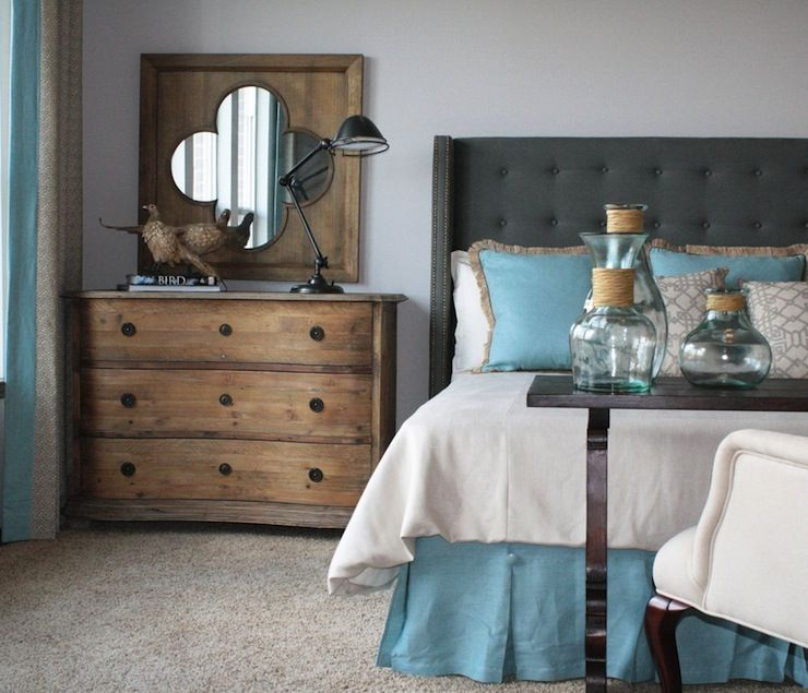 Beautiful Gray & Blue Bedroom Design With Blue Walls Paint Color, Charcoal Gray Tufted Wingback