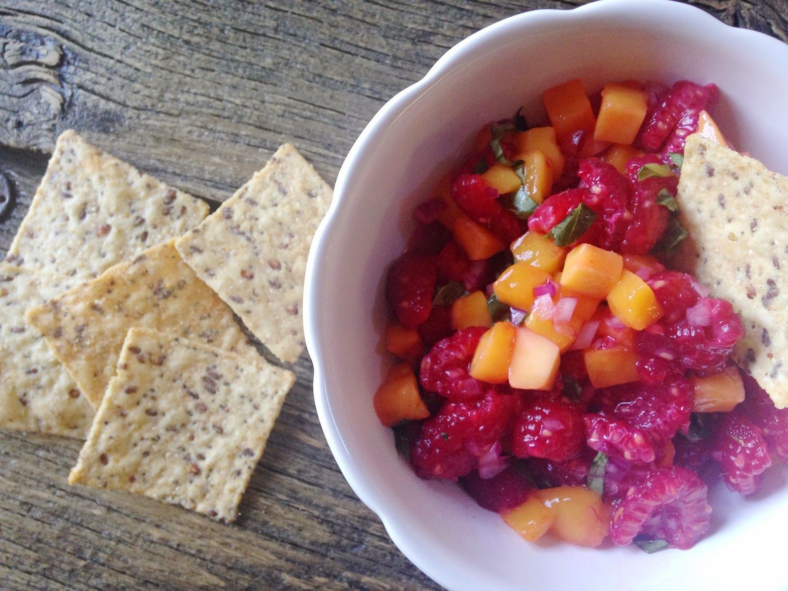 Raspberry Mango Salsa (in the depths of winter, you can make this recipe for a taste of sweet summertime!)
