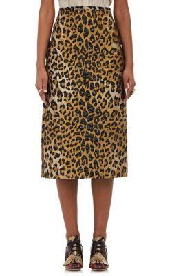 DRIES VAN NOTEN Leopard-Pattern Brocade Pencil Skirt. #driesvannoten #cloth #skirt