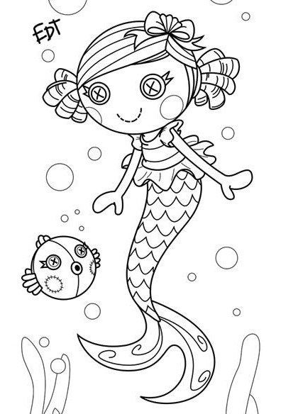 Coral Sea Shells Mermaid Lalaloopsy Coloring Page Printables