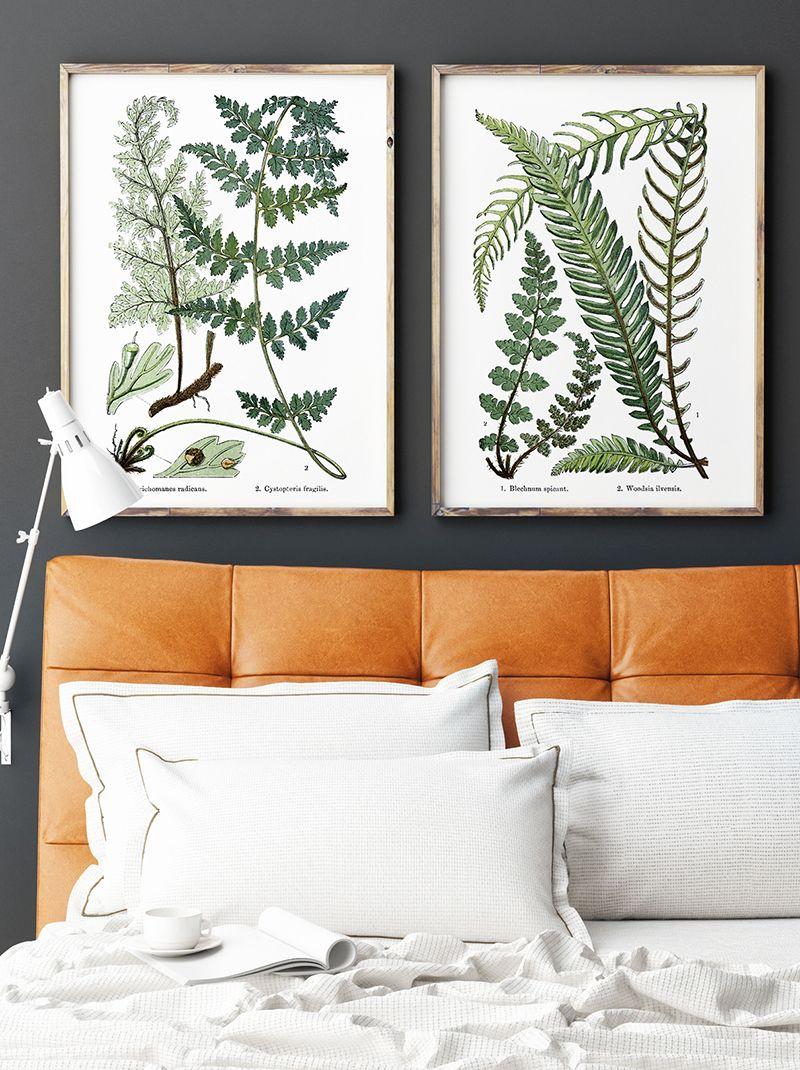 fern vintage botanical print set diptych art printables on wall art for home id=25229