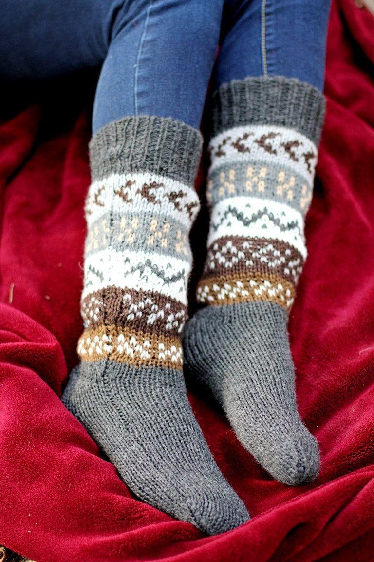 Deluxe Hand Knit Patterned Long Alpaca Socks