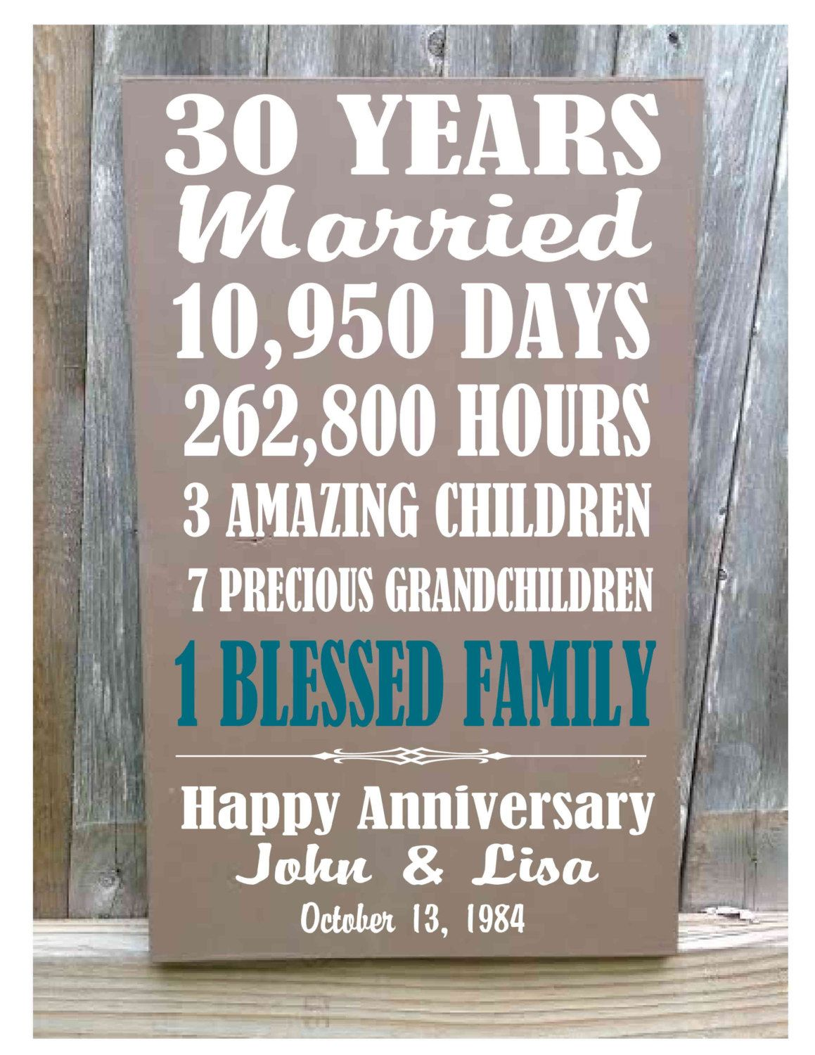 Personalized 30th Anniversary Gift 5th 10th 20th 25th 40th 50th Anniversary 30th Anniversary Gifts 50th Anniversary Gifts Creative Wedding Anniversary Gifts