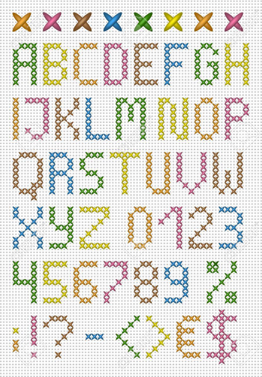 Colorful Croce Maiuscolo Alfabeto Inglese Con Numeri E Simboli Vector Set Punto De Cruz Babero Bordados En Punto Cruz Abecedario Punto De Cruz