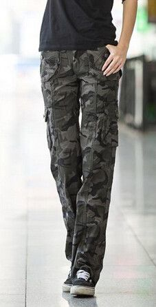 62895a9d6764e1 Winter Outdoor Womens Casual Loose Camouflage military multi-pocket Cargo  pants Army Green Cotton Sport Jogging Trousers