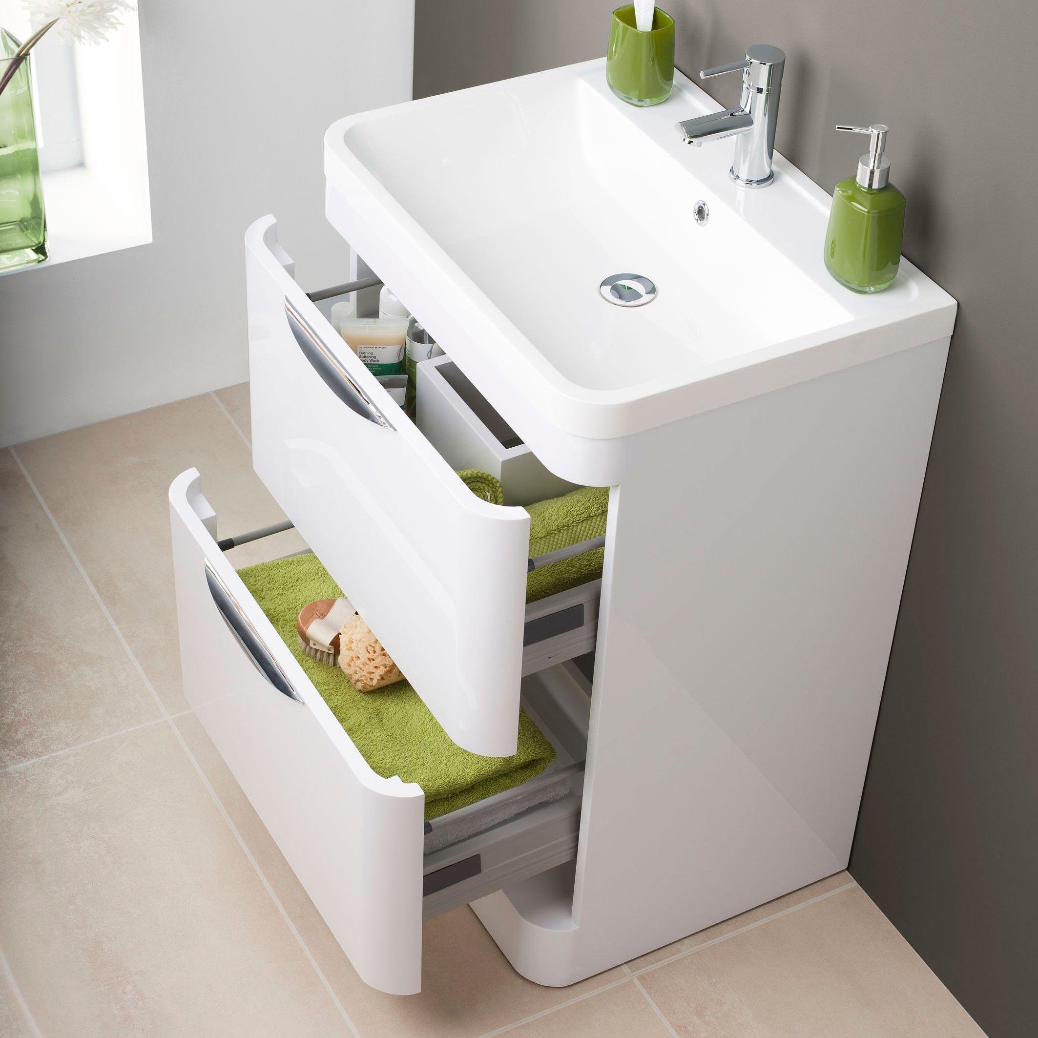 Premier Parade Floor Standing Bathroom Vanity Unit With Basin Wide   1 Tap