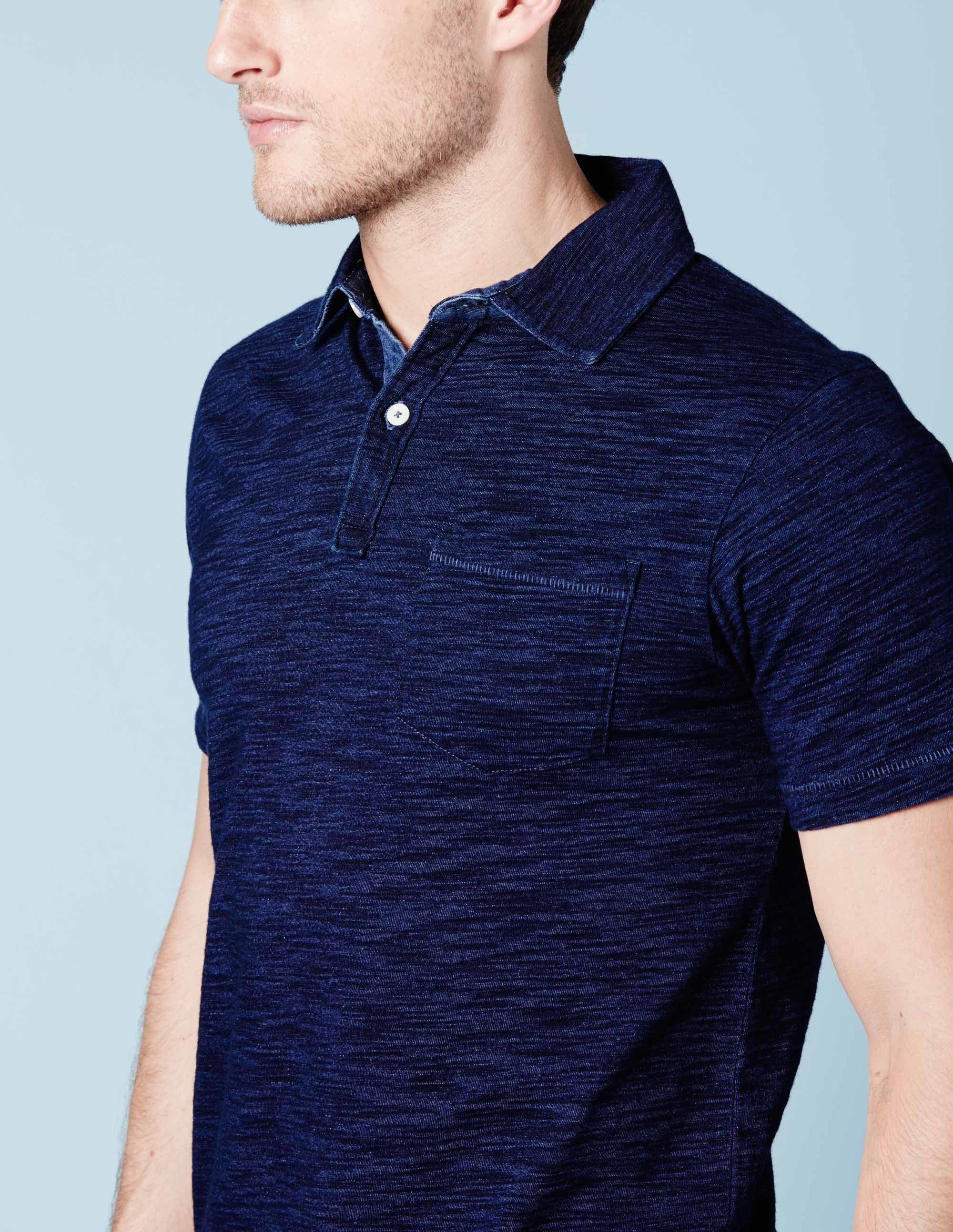 ff0687ca Indigo Slub Polo Polo Shirt Outfits, Polo Shirt Style, Polo Outfit, Man  Outfit
