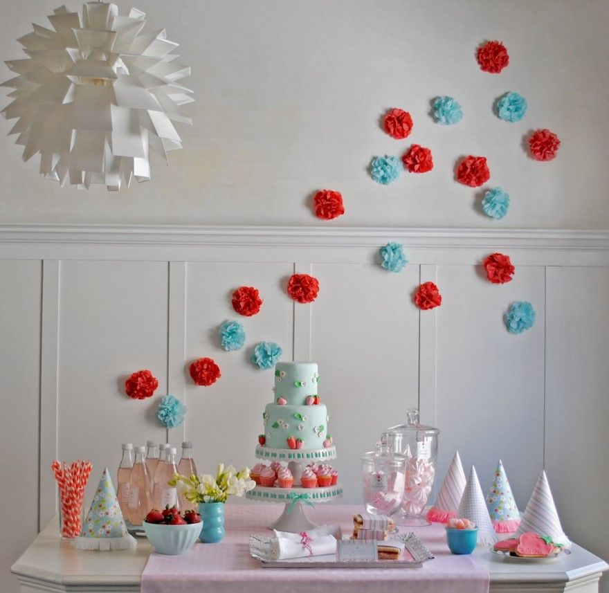 Pink and Blue Strawberry Birthday Party Birthday party ideas