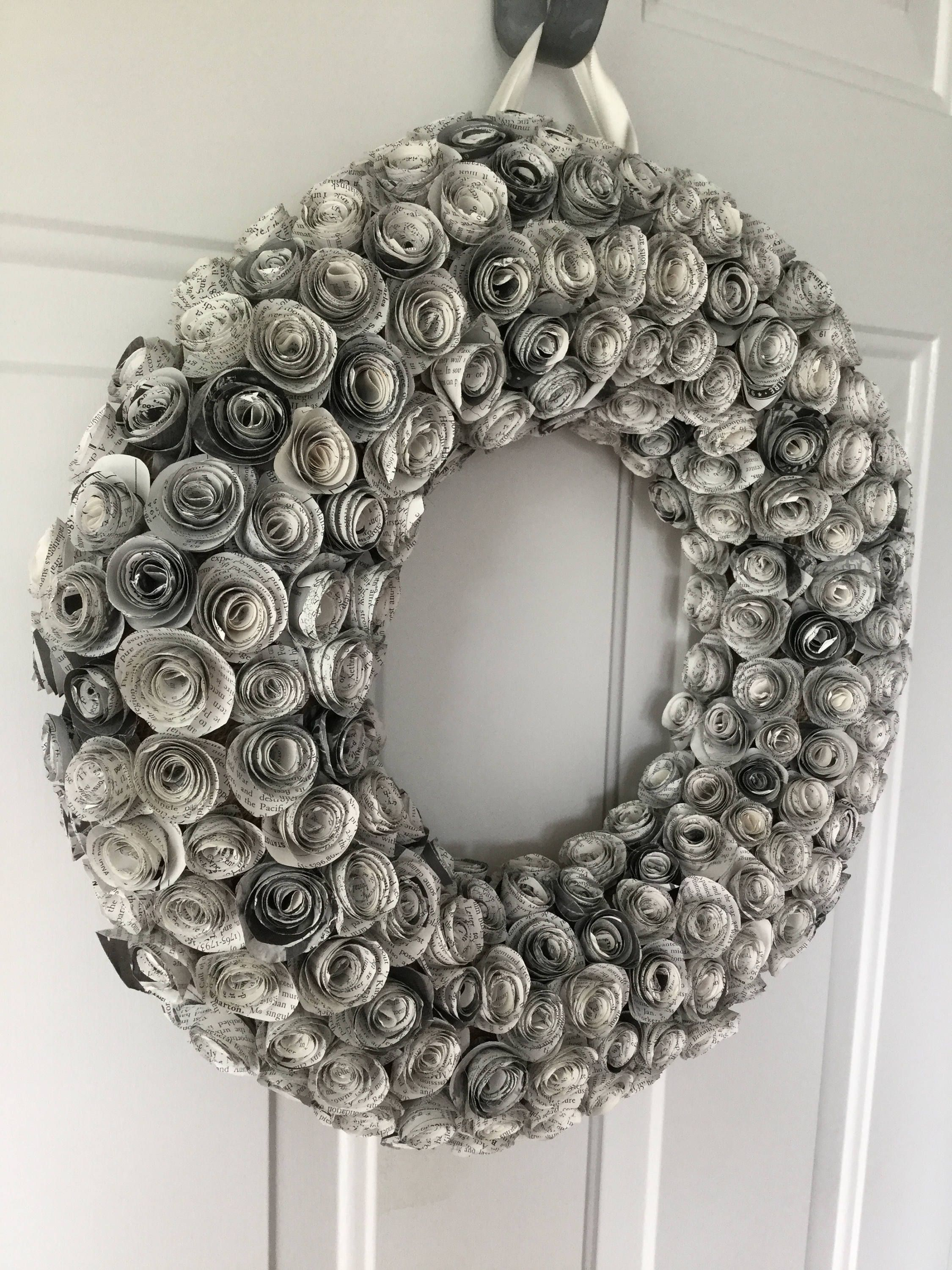 Book page wreath, wreath, front door wreaths, rustic farmhouse ...
