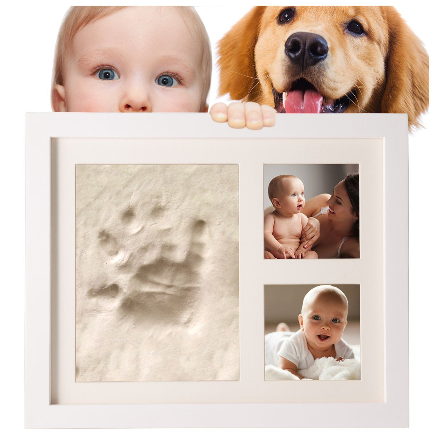 SafBabies Baby Handprint and Footprint Clay Kit Picture Frame, White ...
