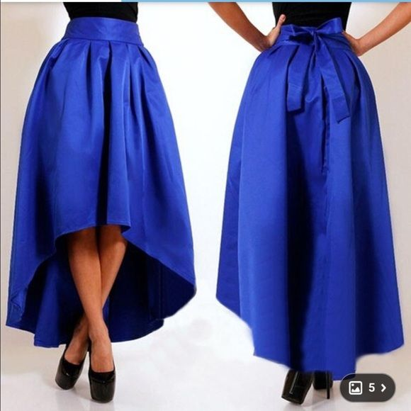 a0f955aad74 Royal blue hi low a line skirt Royal blue hi low a line puffy ...