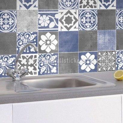 Sticker Muraux Décoratif Carrelage Vogue Bleu Pack De - Sticker mural carrelage cuisine pour idees de deco de cuisine