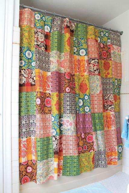patchwork good folks shower curtain