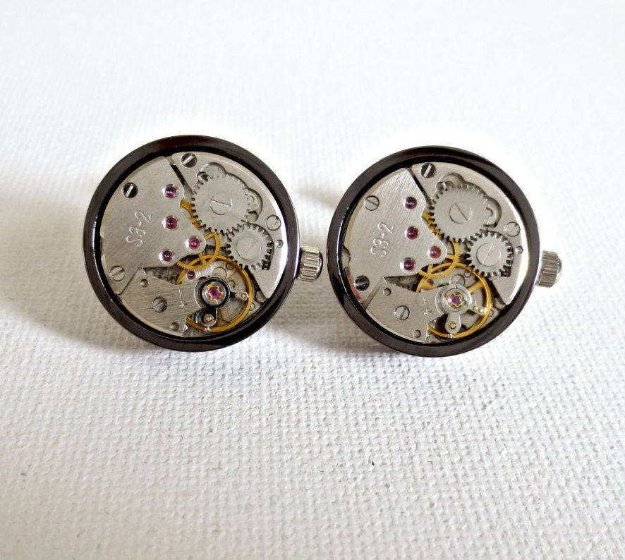Working Watch Cufflinks Cuff Links Steampunk Wedding Groom Groomsmen Groomsman…