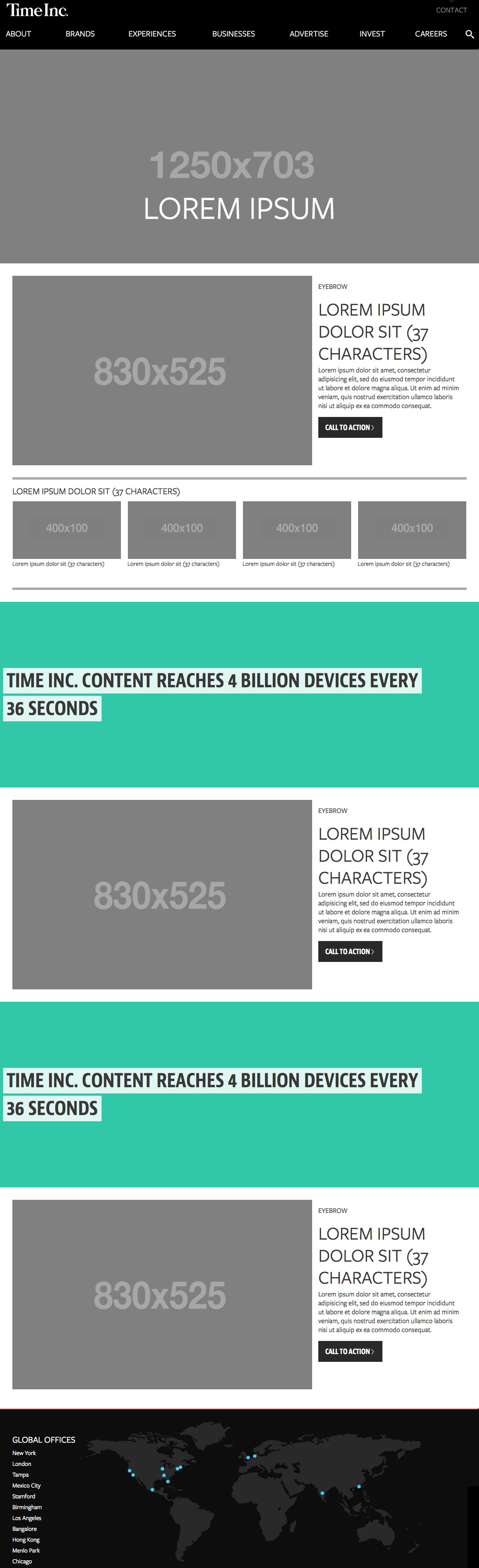The Time Inc Homepage Template Consists Of A Few Repeatable - Homepage template